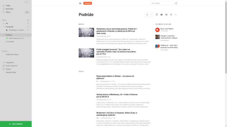 """Po dodaniu kilku stron możemy kliknąć na nazwę kategorii (feed - po prawej stronie), tutaj """"Podróże"""" i obejrzeć listę artykułów z wszystkich blogów. By rozwinąć całą listę stron w danej kategorii klikamy """"[liczba] more feeds"""" w lewym panelu pod daną kategorią"""