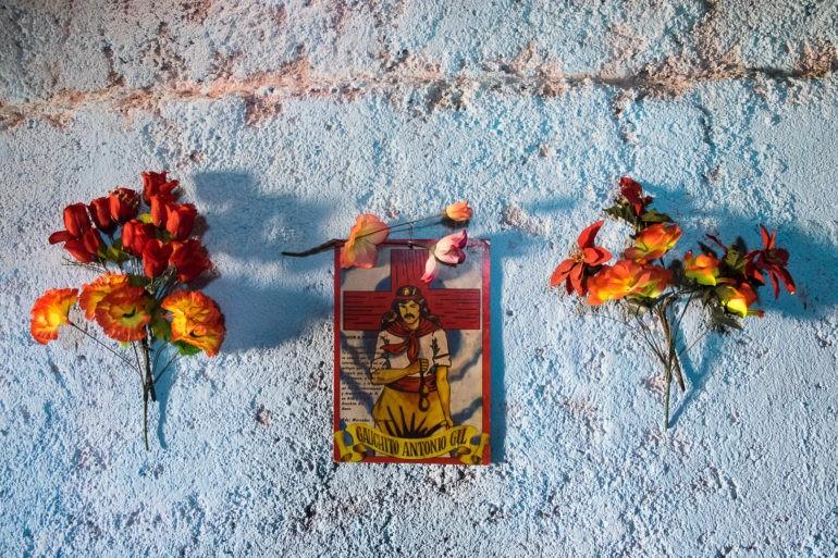 Tekst modlitwy do Gauchita między czerwonymi kwiatami