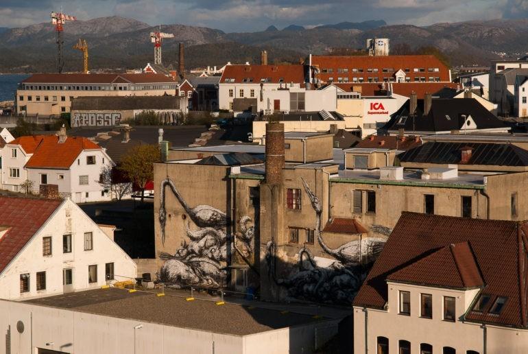 Mural w bardziej przemysłowej części Stavanger