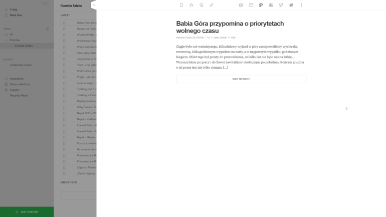 """Po kliknięciu jednego z artykułów w wyświetlamy udostępniony podgląd artykułu (tutaj przykładowy). Klikamy na tytuł lub szary przycisk """"VISIT WEBSITE"""" jeśli artykuł nas zainteresował i chcemy przejść do właściwej strony. Strona otworzy się w nowej zakładce."""