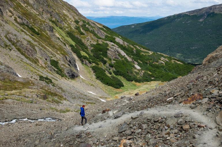 Szlak powrotny z jeziora de los Témpanos
