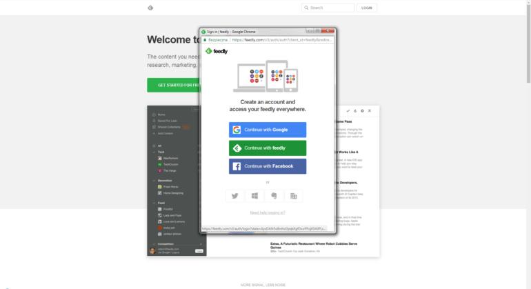 """Wybierz sposób logowania, z którego zwykle korzystasz. Ja założyłem normalne konto w serwisie (podając imię, adres email i hasło) przy pomocy zielonego przycisku """"Continue with feedly"""""""